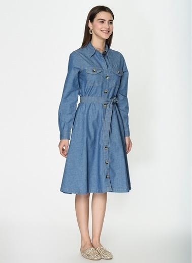 Loves You Çift Cep Açık Yıkama A Shape Denim Elbise Mavi